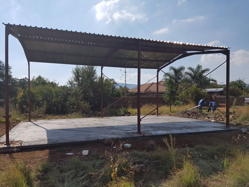 Structural steel workshed under construction