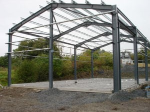 Steel structures at the start of constructing a church